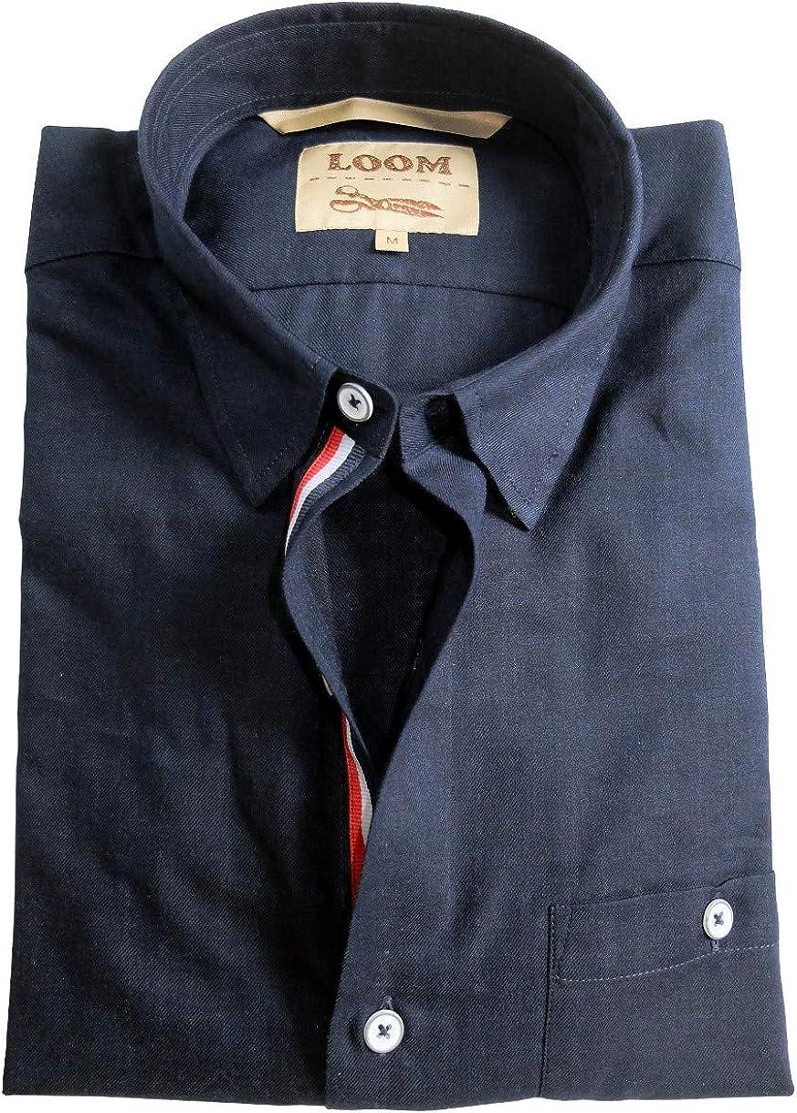 LOOM Camisa de manga larga Slim Fit de franela fina en azul ...
