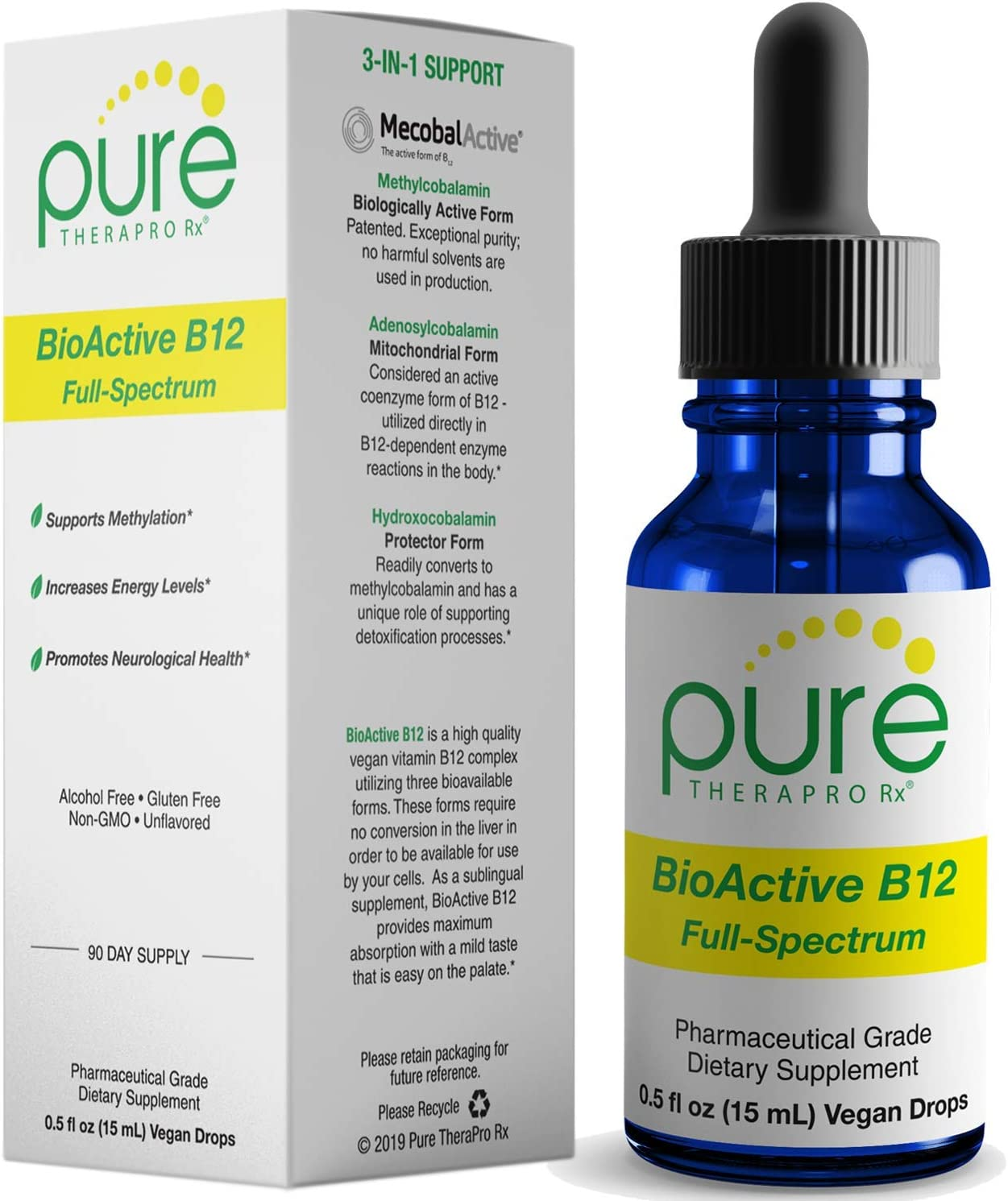 New! BioActive B12 Full-Spectrum (Sublingual Drops) 90 Day Supply: 4,000 mcg Per Serving | Includes 3-in-1 Bioavailable: Methylcobalamin, Adenosylcobalamin and Hydroxocobalamin | Vegan