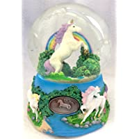 Unicorn Over the Rainbow Enchanted Fantasy Musical Glitterdome 100mm Snow Globe