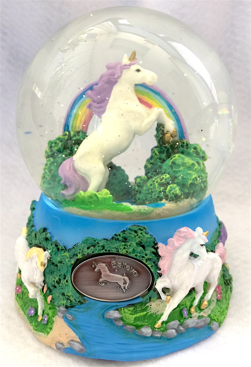 Unicorn Over the Rainbow Enchanted Fantasy Musical Glitterdome 100mm Snow Globe by cado