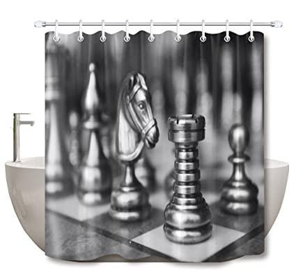 LB Chess Piece Board Pattern Shower Curtain Set For Bathrooms Sports Themed Design Decor