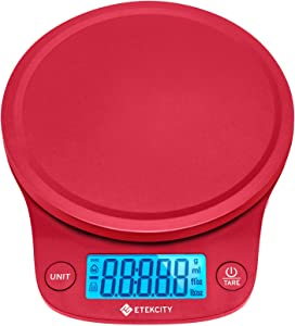 Etekcity 0.1g Food Kitchen Scale, Digital Weight Grams and Oz for Cooking, Baking, Meal Prep, and Diet, 11 Pounds, Red