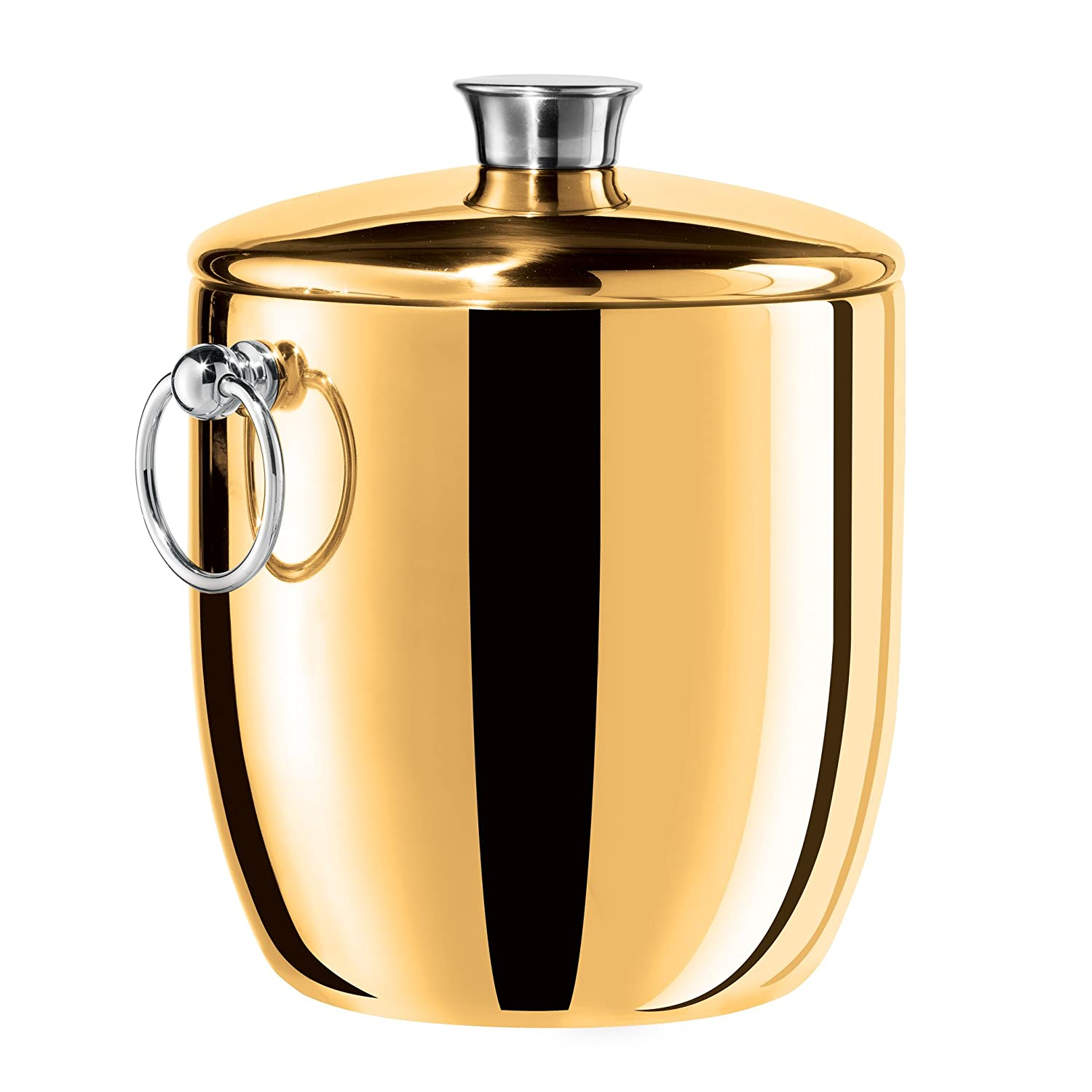 Oggi Copper Plated Mirror Finish Stainless Steel Ice Bucket with Tongs, 3 quart 7446.12