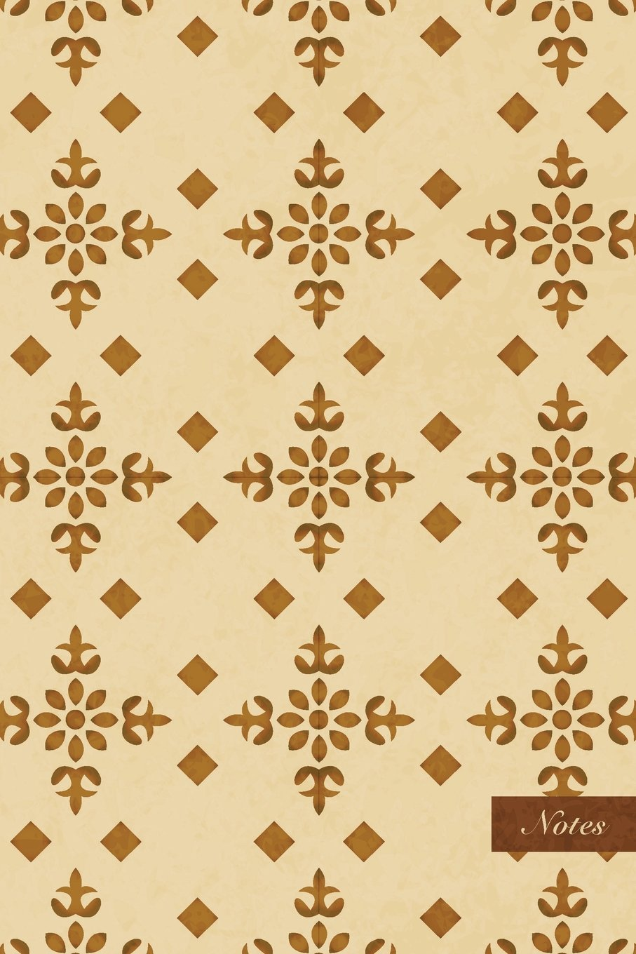 """Notes: 6""""x9"""" Ruled Lined Notebook - Check Cross Plant Flower - Retro Brown Worn Out Vintage Seamless Pattern Cover. Matte Softcover And Cream Interior Papers. ebook"""