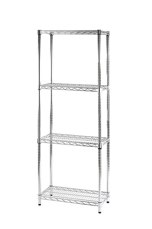 Sistema Mensole Componibili.Archimede Sistema Componibile Scaffale Quattro Ripiani Grigio Cromato 61 X 36 X 168 Cm