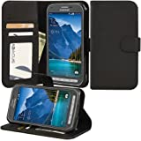 Abacus24-7 [Elegant Book] AT&T Samsung Galaxy S5 Active Case Wallet with Flip Cover and Stand [Black Leather]