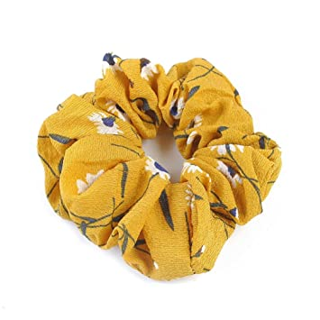 IKevan Summer Floral Hair Scrunchies Bun Ring Elastic Fashion Sports Dance Scrunchie (Yellow)