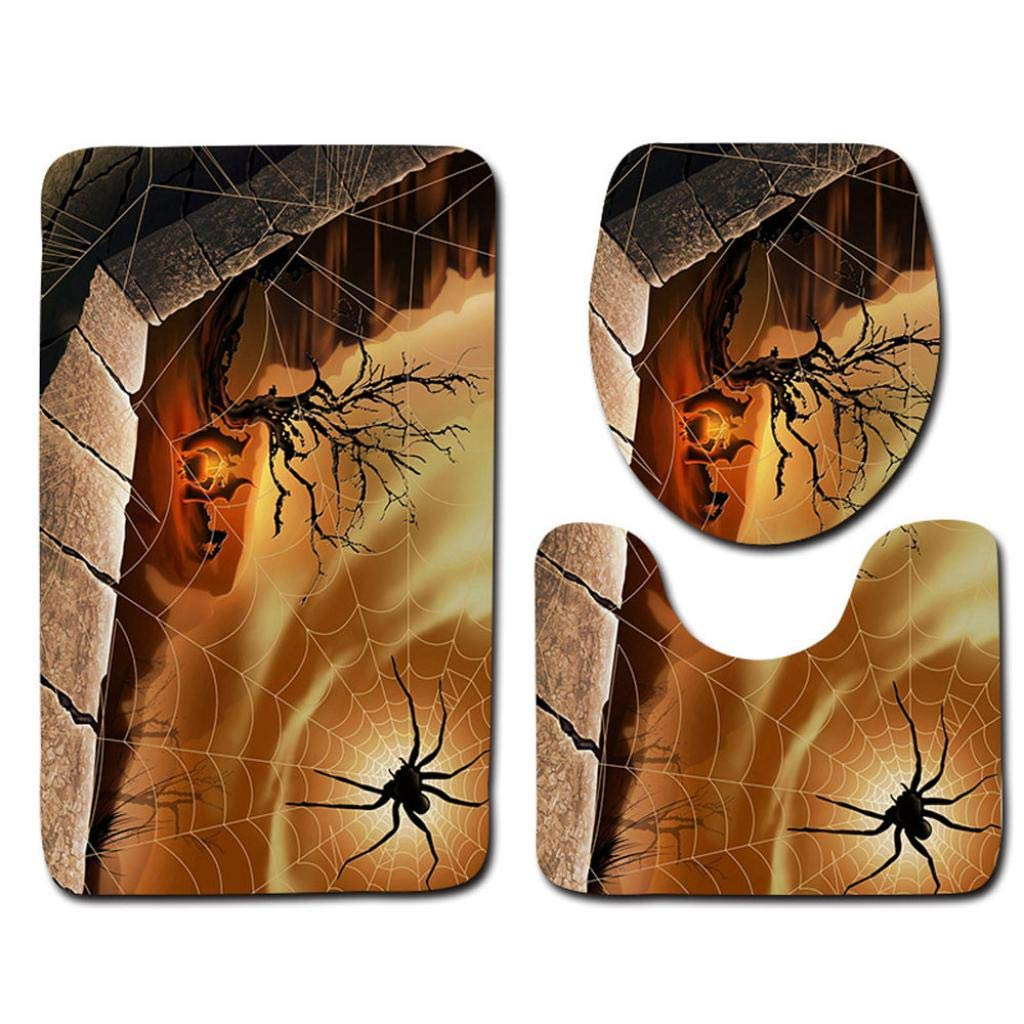 Halloween Pumpkin Monster Witch Black Cat Toilet Seat Cover and Rug Bathroom Mats Set Halloween Decor (B)