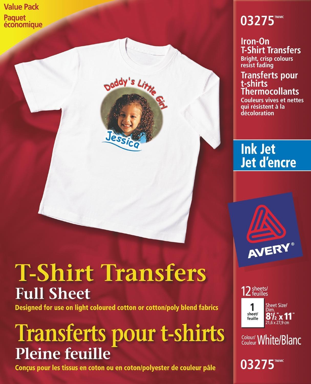 Avery T-Shirt Transfers for Inkjet Printers, White, 12 Pack (3275) 03275