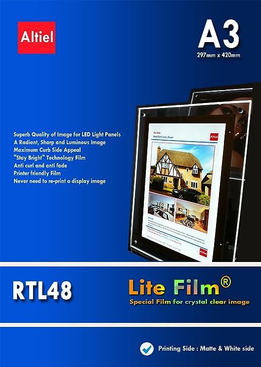 RTL48 - 10 hojas x A3 - Premium y grueso/Lite retroiluminada papel ...