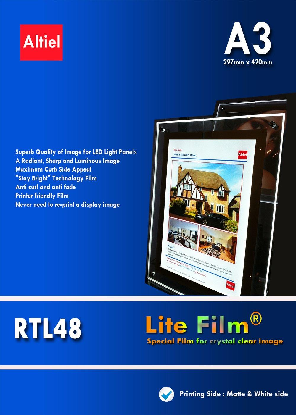 RTL48, formato A3, per stampanti a getto d'inchiostro, 50 fogli, spessore illuminazione posteriore per carta/Lite con luce LED e luce LED per pannello LED Lightbox Altiel Ltd