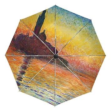 Monet pintura resistente al viento Custom paraguas Golf fuerte 3 plegable Custom umbrellauv protección ligero personalizado