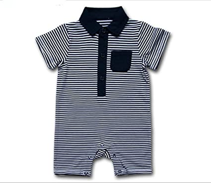 Baby Boys Blue or Navy Striped Short Summer Romper 0-9 Months