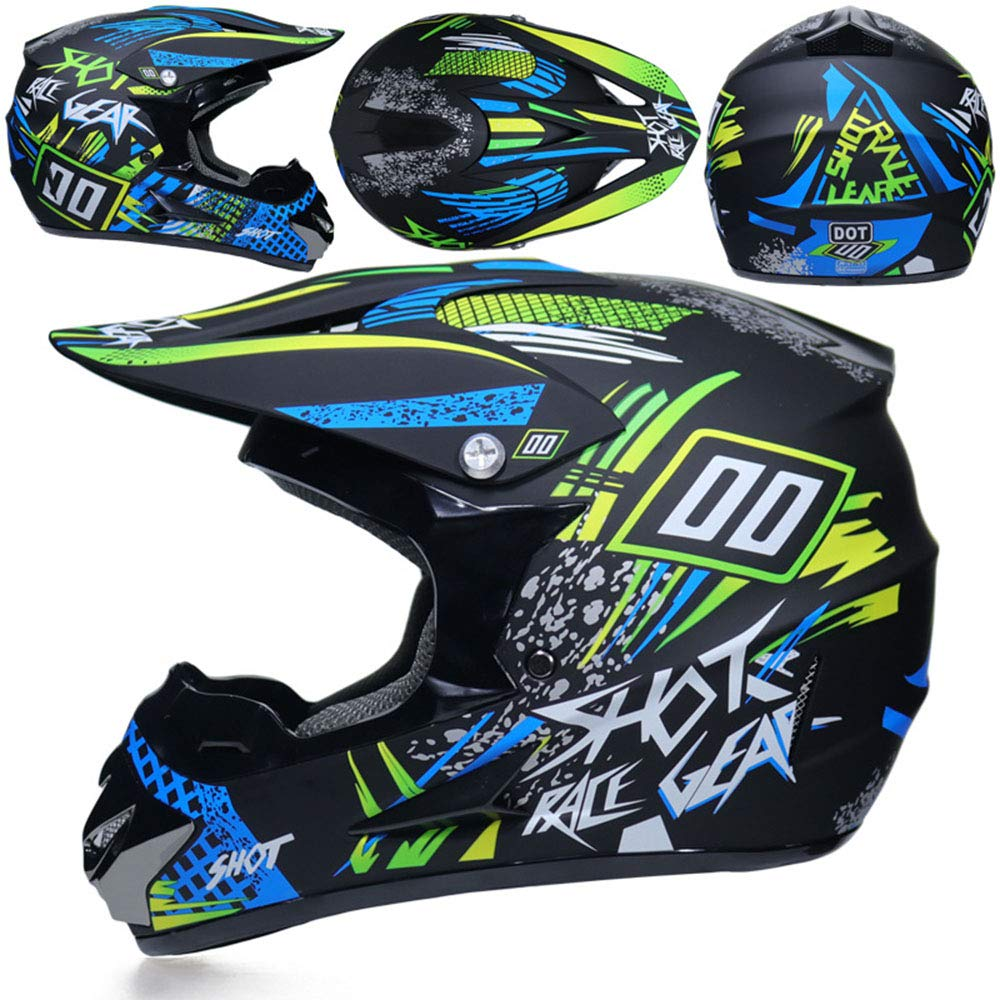 7 Stil NGB Dual Sport Motocross Helm//Adult MX Off-Road Motorcycle//AM Mountainbike Voll-Gesichtshelm mit Goggles Handschuh Maske