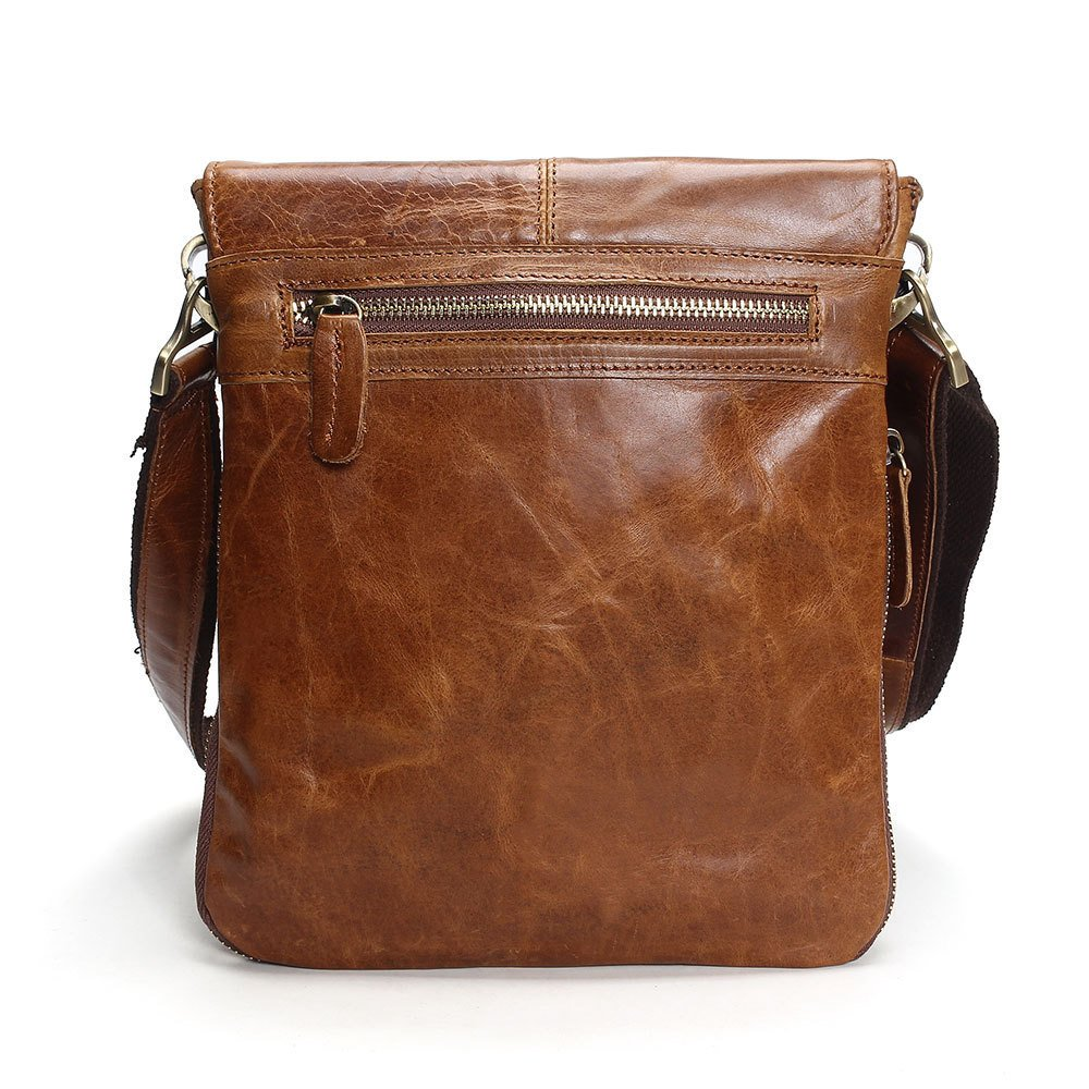 Retro Clamshell Men's Leather Bag Casual Business Bag,Coffee by NUGJHJT (Image #2)