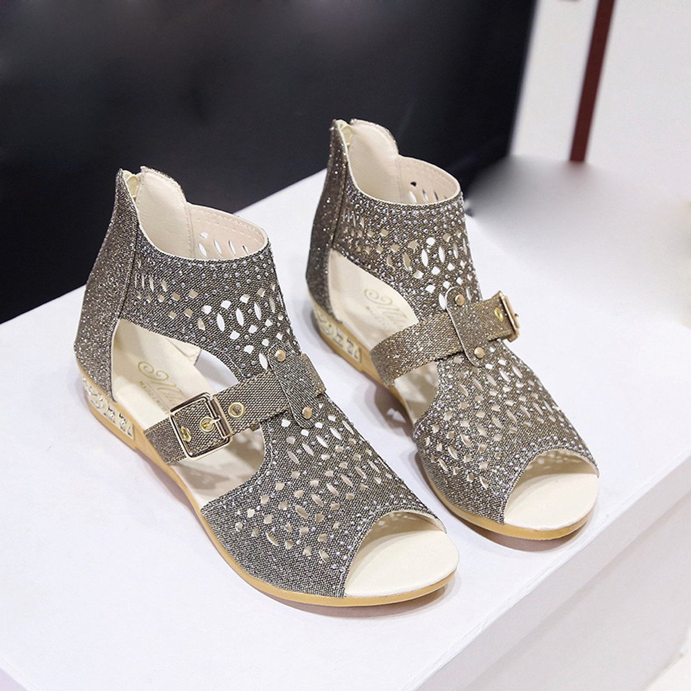 Sunyastor Women Shoes Ladies Summer Sandals Wedge Sandals Fashion Fish Mouth Hollow Roma Shoes Walking Girls Wedge Sandals