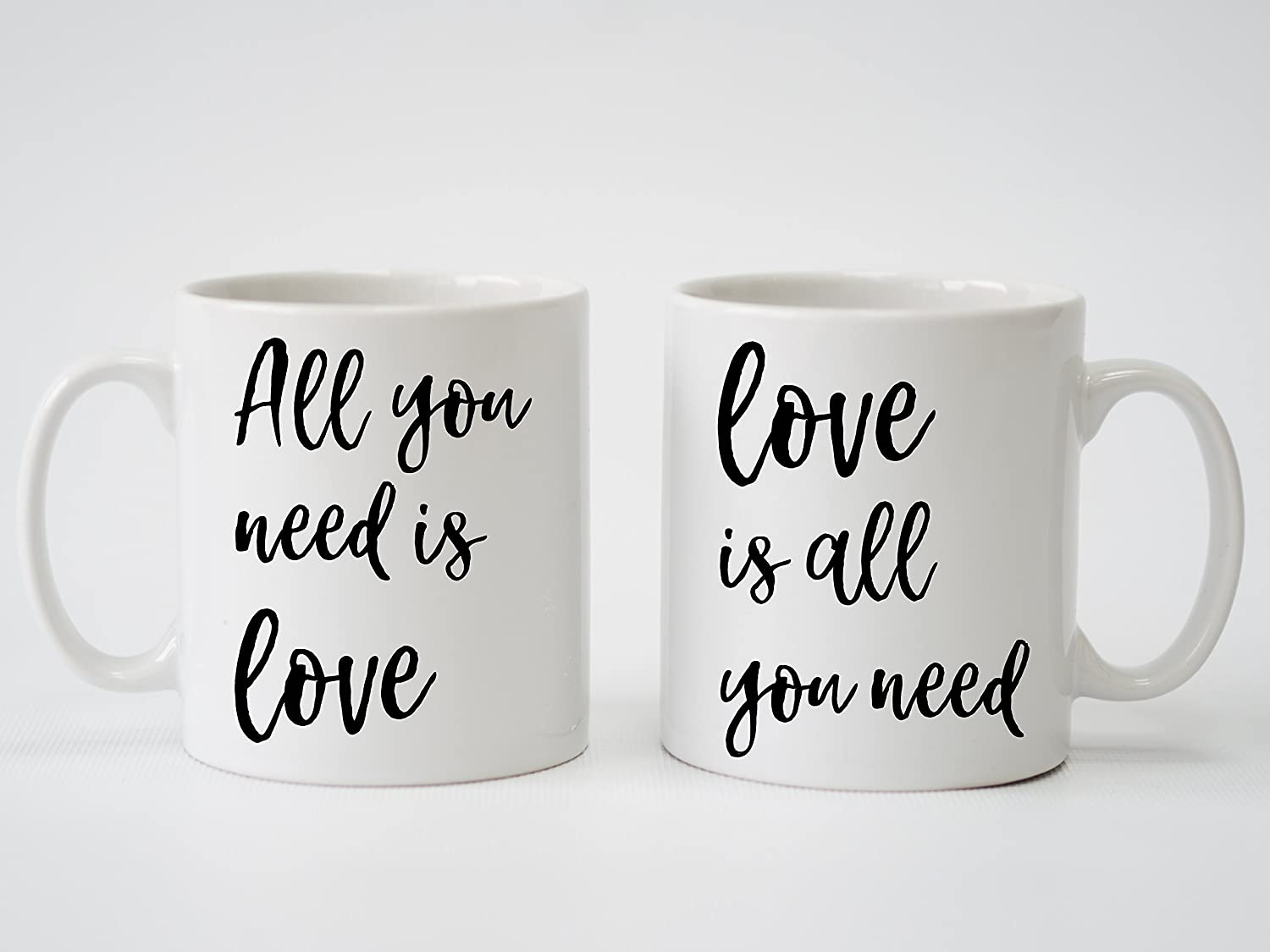Amazon Com The Beatles All You Need Is Love Song Lyrics Personalised Print Pair Of Mugs For Anniversary Wedding Engagement Coffee Cups Mugs