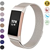 JOMOQ Metal Bands Compatible Fitbit Charge 3 & Charge 3 SE, Milanese Stainless Steel Magnetic Replacement Small & Large Women Men, Silver, Purple, Rose Gold, Black, Colorful