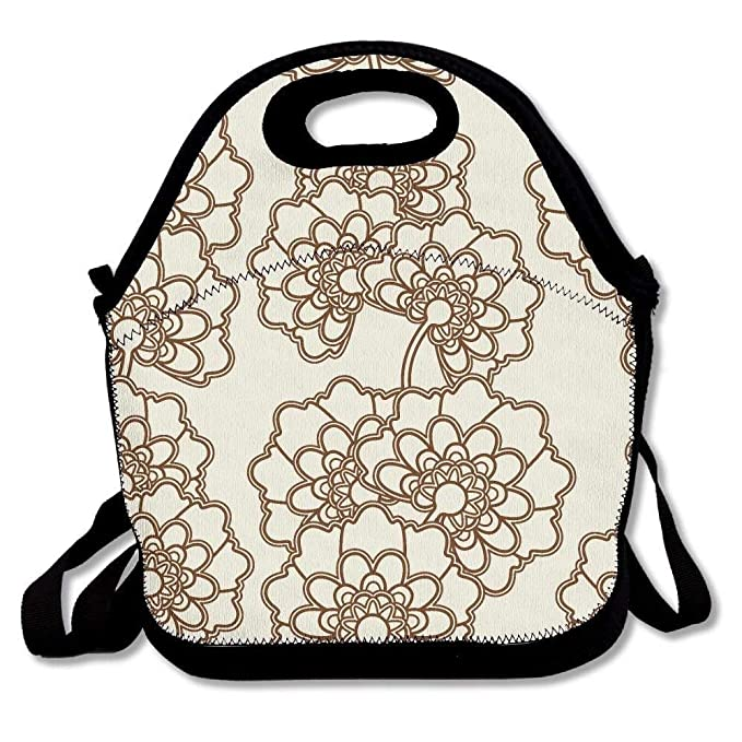 151bb4ce9707 Amazon.com  Japanese Seamless Flower Portable Carry Insulated Lunch ...