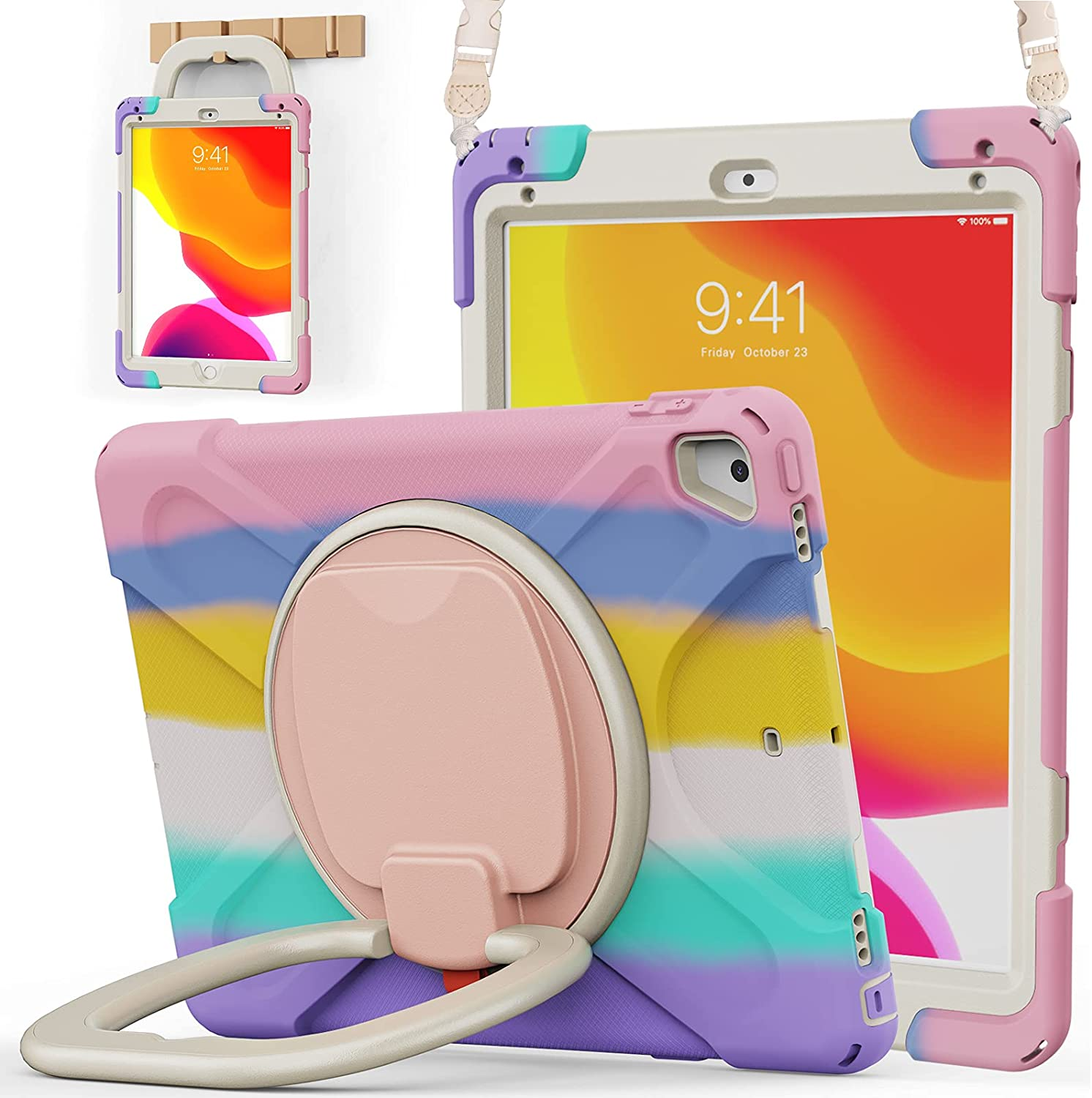BATYUE iPad 9.7 inch Case for 2018 iPad 6th Gen/ 2017 iPad 5th Gen, iPad Air 2/ iPad Pro 9.7'',Shockproof Protective Rugged Cover with Pencil Holder &Rotating Bracket &Shoulder Strap(Colourful Pink)