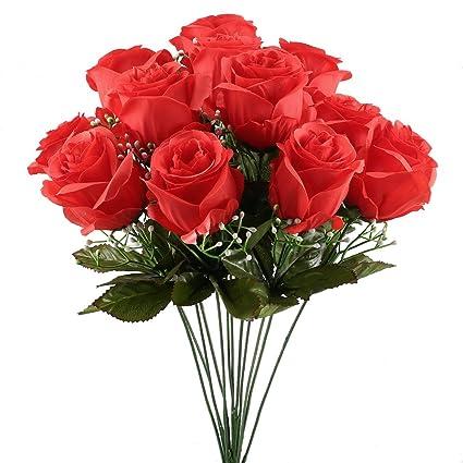 MIHOUNION Arbusto de rosas artificiales de lujo Fresco bouquet de flores de seda Inicio Cocina Decoración