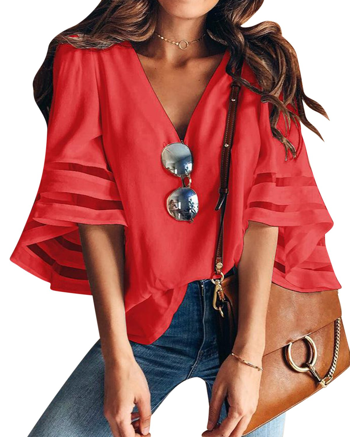 BBYES Women Casual V-Neck 3/4 Sleeve Summer Loose Ladies Tops Blouse Shirts S-XL BBYES-CA0029938@639