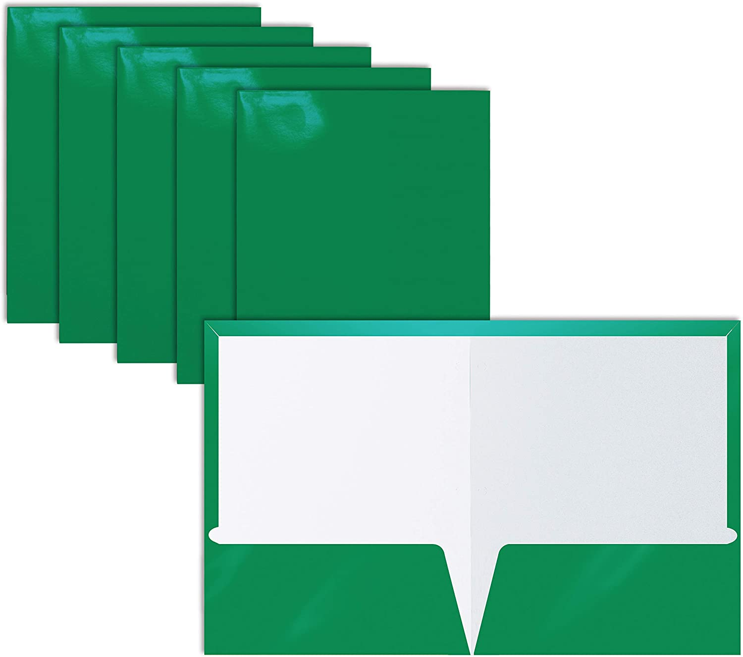 2 Pocket Glossy Laminated Green Paper Folders, Letter Size, 25 Pack, Green Paper Portfolios by Better Office Products, Box of 25 Green Folders