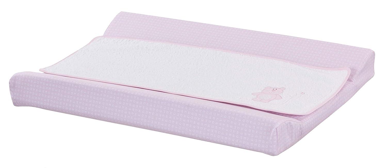 Cambiador bebe interior plastificado Bordado OSITO. Color Rosa. Medida 80x53 cm. Desenfundable. Válido para cómodas, bañeras y convertibles. KOKETES