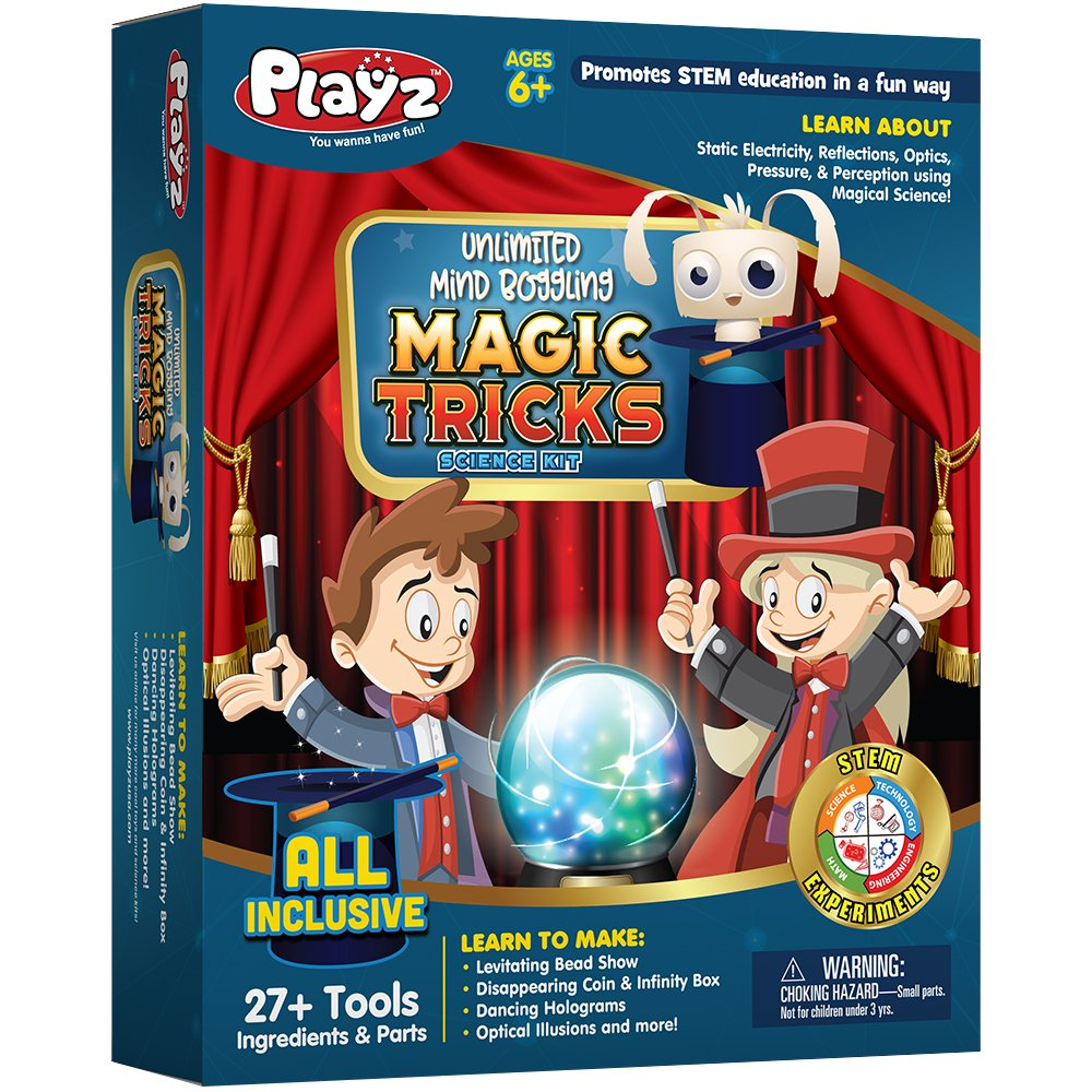 Playz Unlimited Mind Boggling Magic Tricks Science Kit - 27+ Tools to Make Dancing Holograms, Levitating Bead Shows, Disappearing Coin & Infinity Box, Optical Illusions & more for Boys & Girls Ages 6+ by Playz