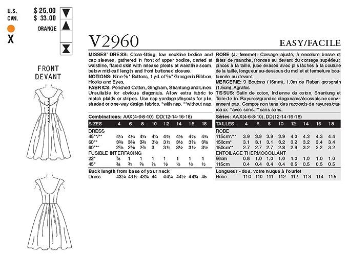Vogue 2960 - Patrón de costura para vestido vintage de mujer (1 ...