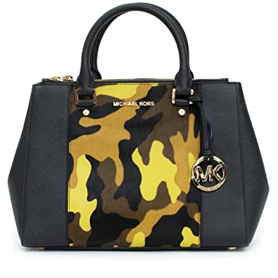 12dfad38b293 Amazon.com  Michael Kors Sutton Center Stripe Medium Satchel Black Handbag  New  Shoes