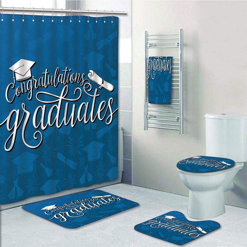 Bathroom 5 Piece Set shower curtain 3d print,Graduation Decor,College Celebration Ceremony Certificate Diploma Square Academic Cap,Blue and White,Bath Mat,Bathroom Carpet Rug,Non-Slip,Bath Towls