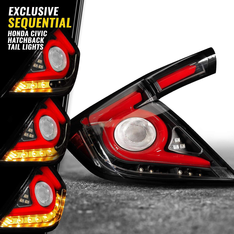 BLACK FRONT TURN SIGNAL SIDE MARKER LIGHTS LAMPS FIT 16-18 HONDA CIVIC GEN 10TH