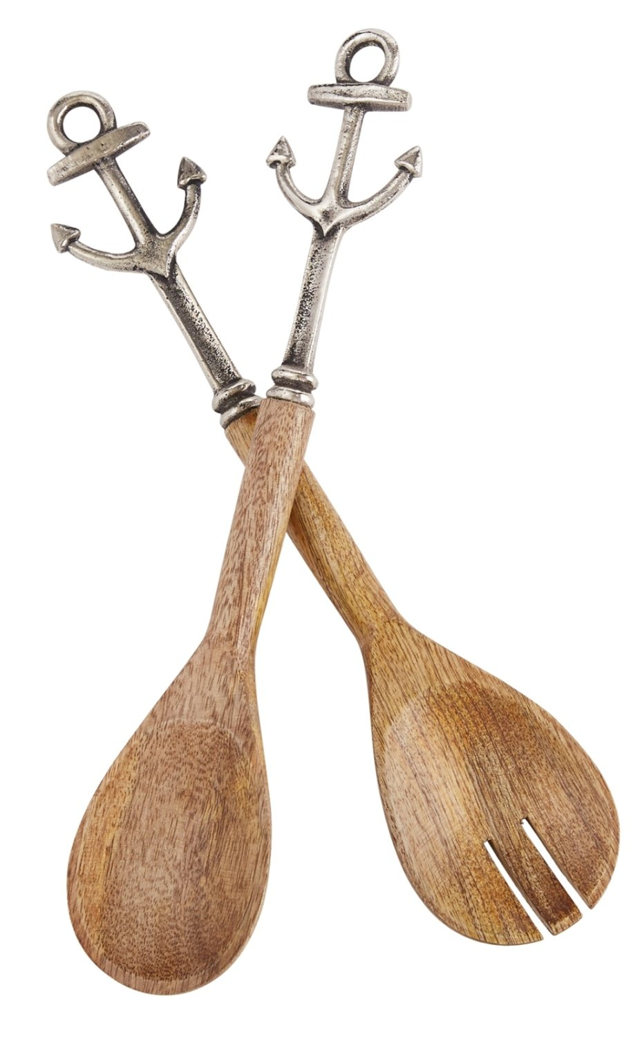 Mud Pie Anchor Icons Wood and Metal Salad Spoon and Fork Servers Set of 2
