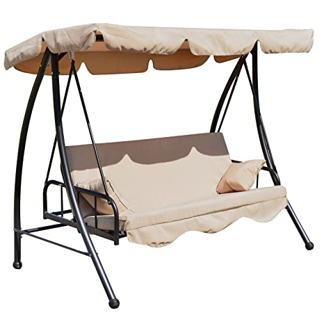 Outsunny 3 Seater Outdoor Garden Patio Swing Chair Swinging Hammock Canopy Cushioned Bench Bed Seat - Beige Amazon.co.uk Garden u0026 Outdoors  sc 1 st  Amazon UK & Outsunny 3 Seater Outdoor Garden Patio Swing Chair Swinging Hammock ...