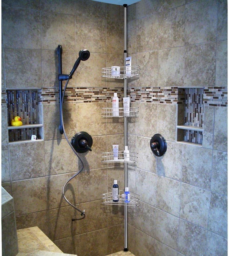 4 Tier Chrome Tension Bathroom Toilet Corner Shelf Bath Shower Caddy Pole Storage Rack Spa Tower Organizer Basket Home Improvement