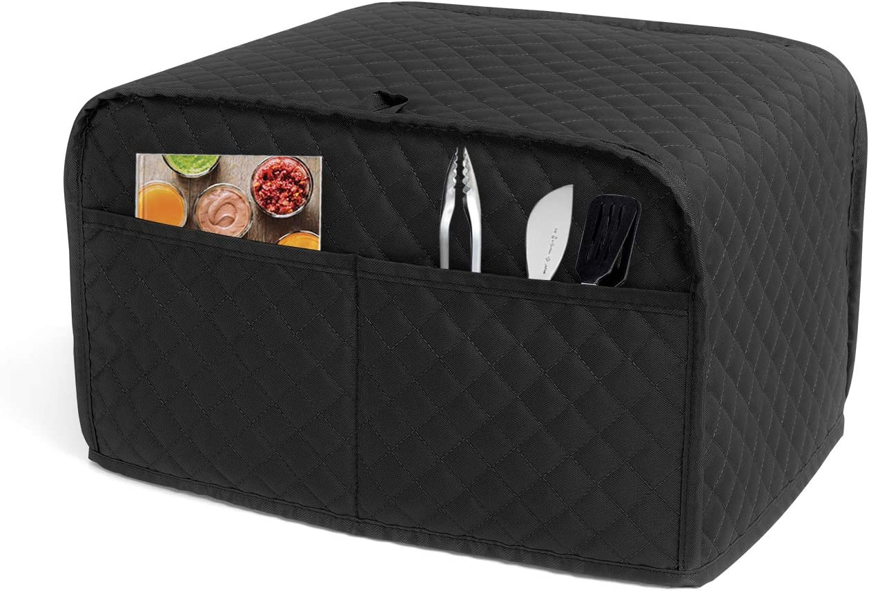 Luxja 2 Slice Toaster Cover (11 x 7.5 x 8 inches), Toaster Cover with 2 Pockets (Fits for Most Major 2 Slice Toasters), Black (Quilted Fabric)