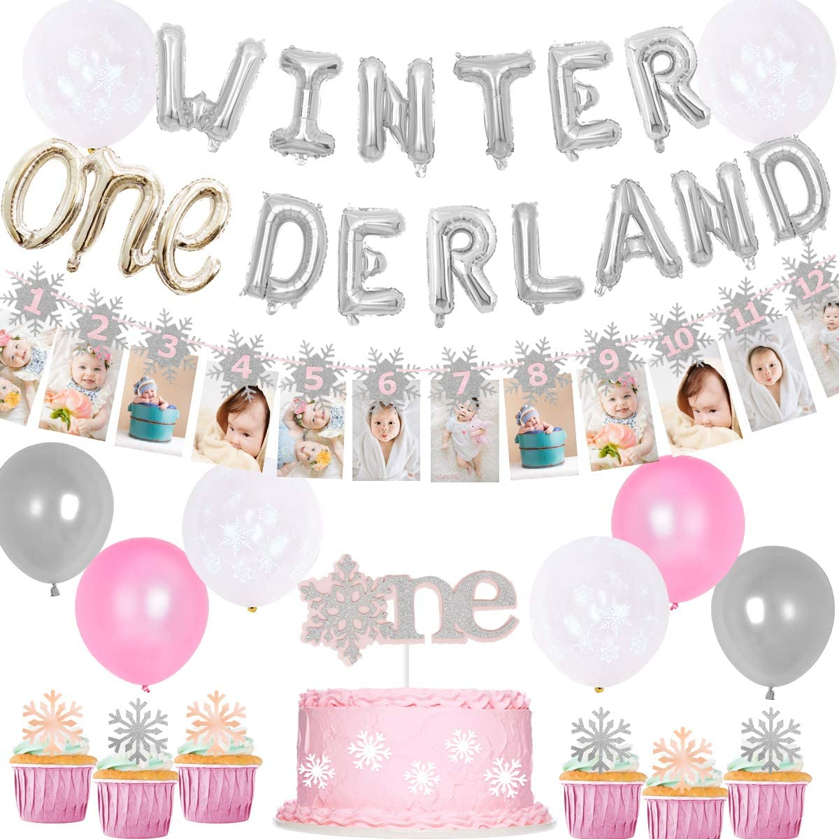 Winter Onederland Birthday Decorations for Princess Winter 1st Birthday Pink, Snowflake Photo Banner Balloons for Girls First Birthday Party Supplies