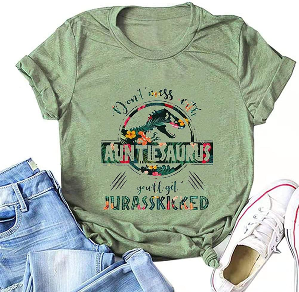YourTops FZLYE Womens Dont Mess with Auntiesaurus Tshirts Casual Short Sleeve Dinosaur Graphic Tees