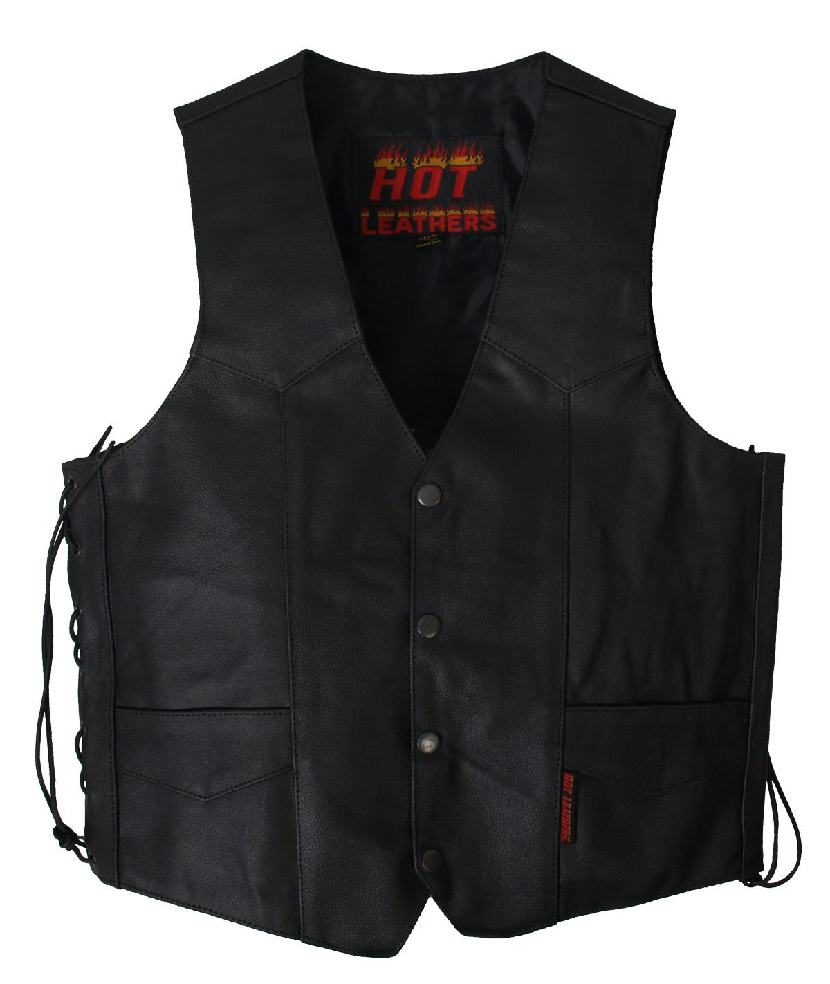 Hot Leathers Men's Heavy Weight Leather Vest (Black, Large) by Hot Leathers