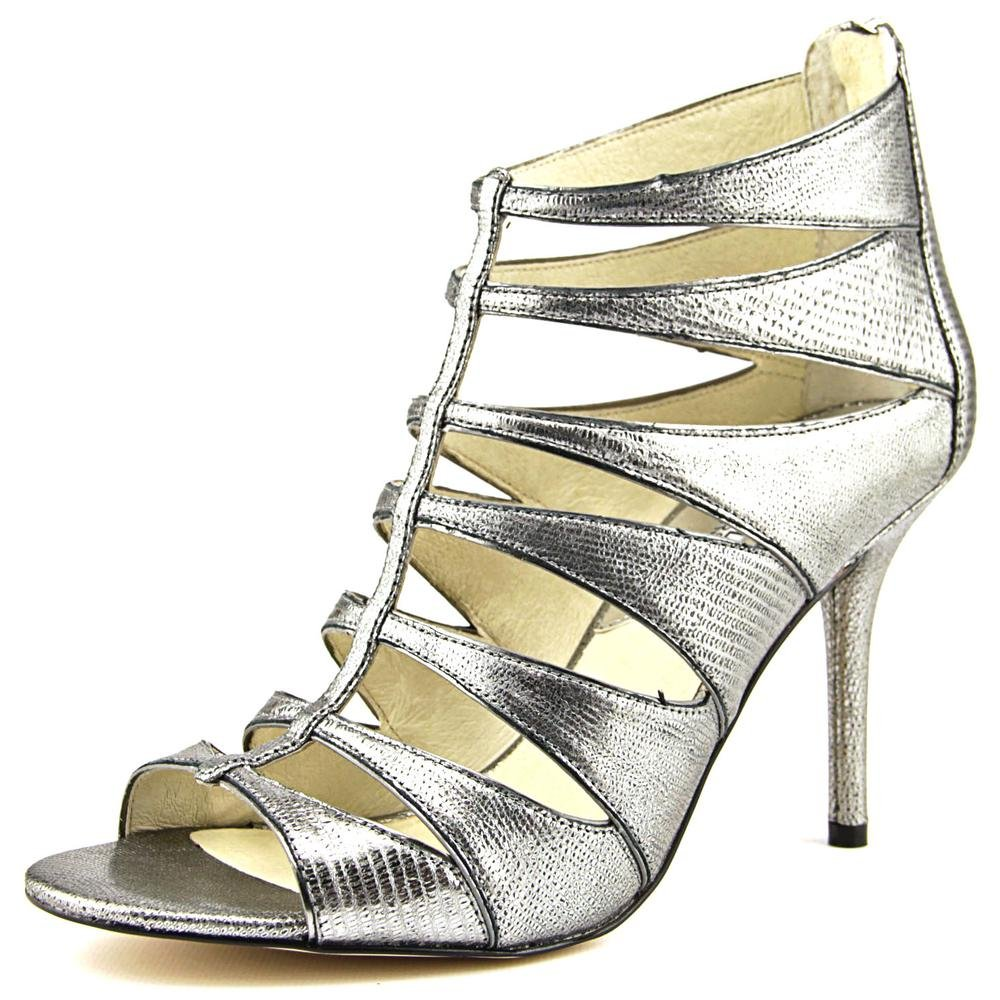 31352a16ee8 MICHAEL Michael Kors Woman's Mavis Open Toe Leather Nickel Heel Sandal
