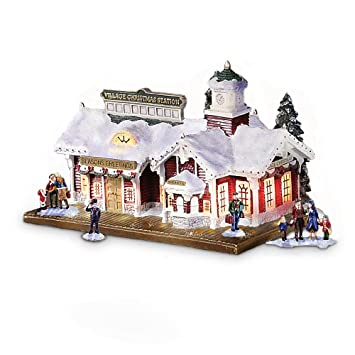 Village Christmas Lighted And Musical Train Station Thomas Kinkade Accessory By Hawthorne