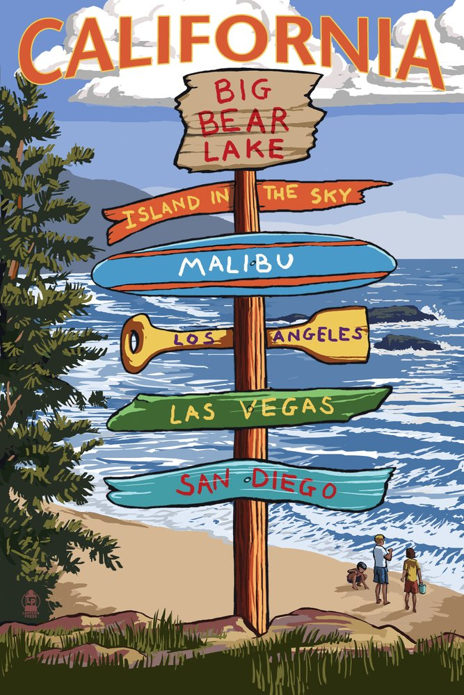 Big Bear湖、カリフォルニア – Destination Signpost 16 x 24 Giclee Print LANT-55402-16x24 B013TX7Q3I 16 x 24 Giclee Print