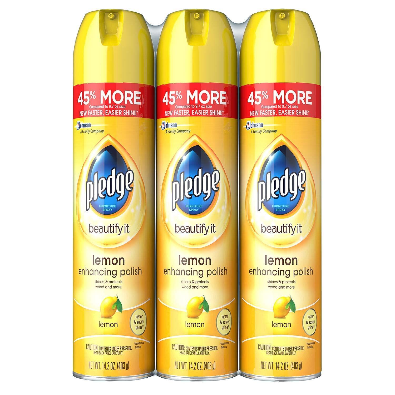 Pledge Furniture Spray, Lemon (14.2oz, 3pk.) (3 Pack(3 Count)) by Pledge