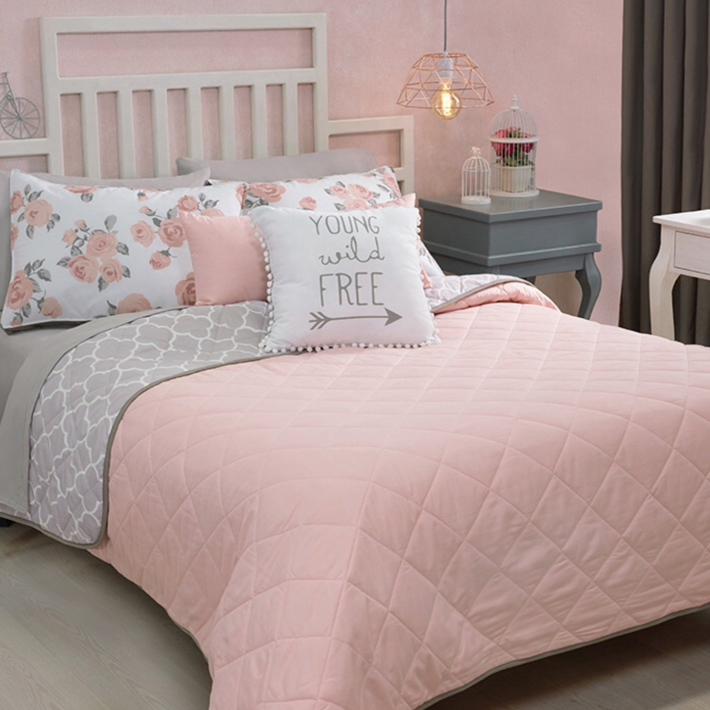 NEW FREE GRAY/PINK TEENS GIRLS REVERSIBLE COMFORTER SET 3 PCS TWIN SIZE by JORGE'S HOME FASHION (Image #2)