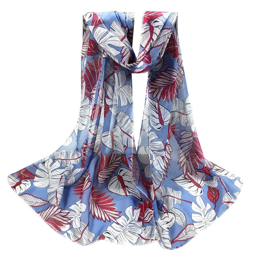Hot Sale!Jonecal Women Fashion Scarf Leaves Infinity Chiffon Wrap Shawl Stole Travel Scarves (Blue)