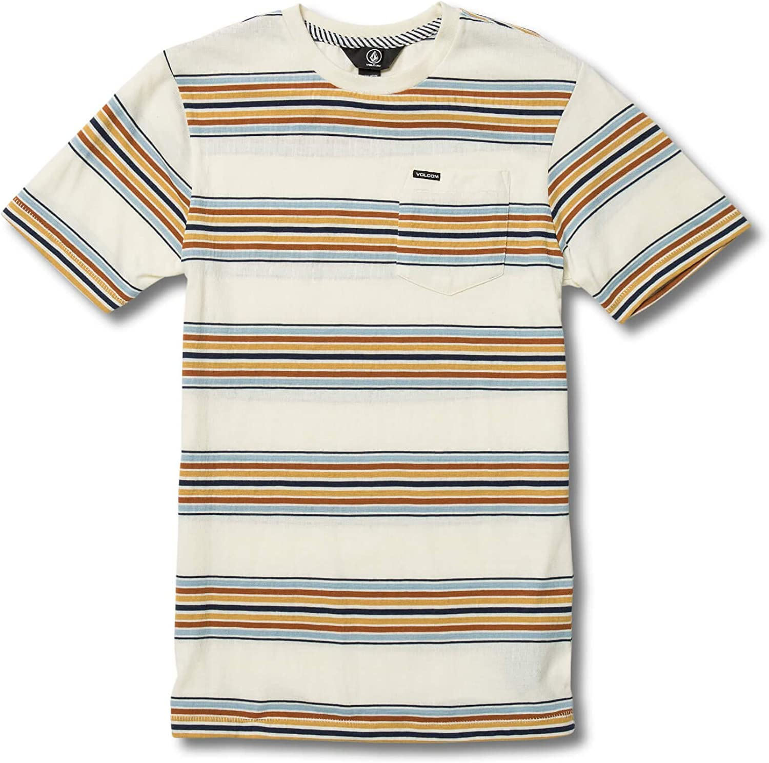 Volcom Big Boys Idle Crew Short Sleeve Striped Pocket Tee