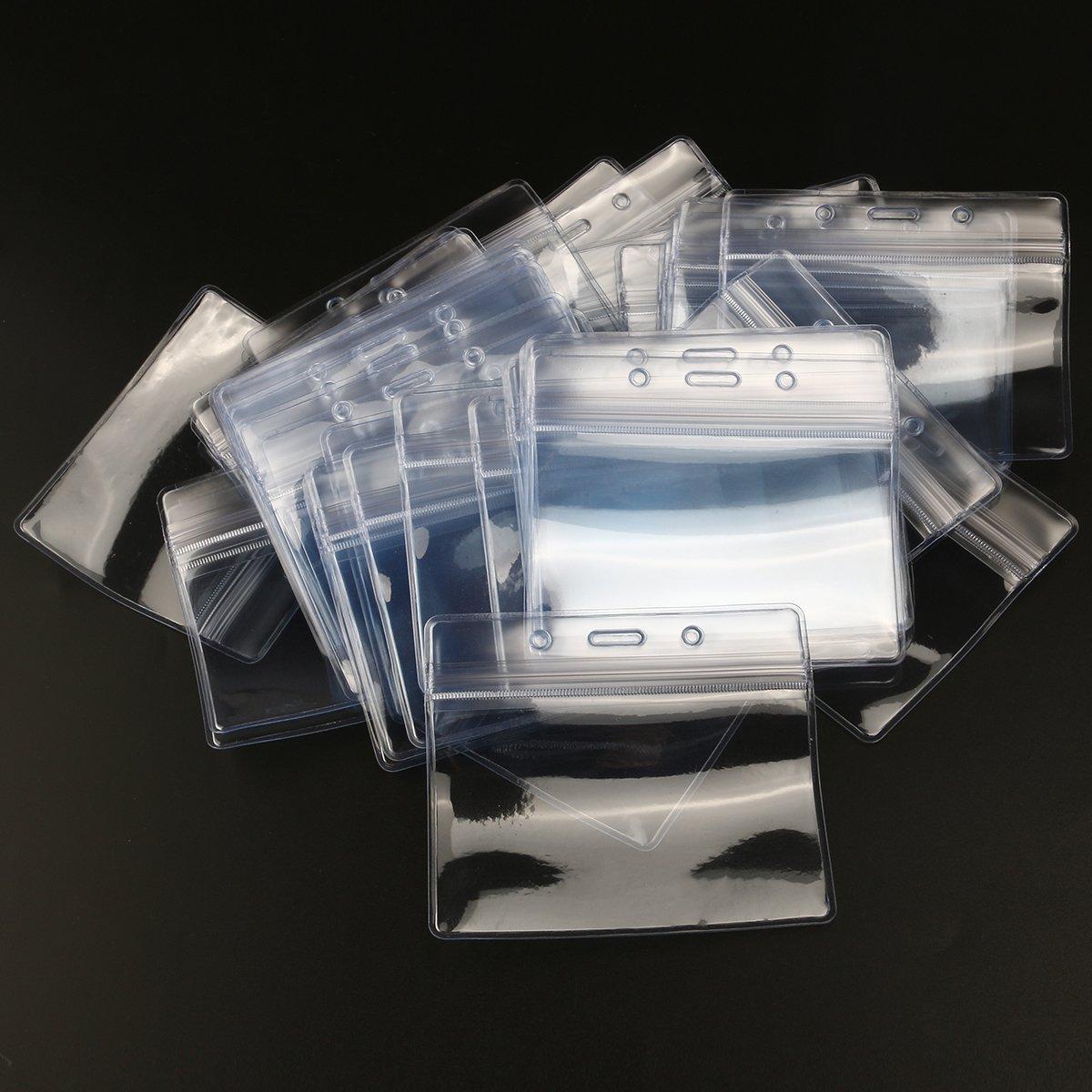 100 pezzi porta tesserino porta targhetta e distintivo in plastica impermeabile formato orizzontale LEORX Porta documento