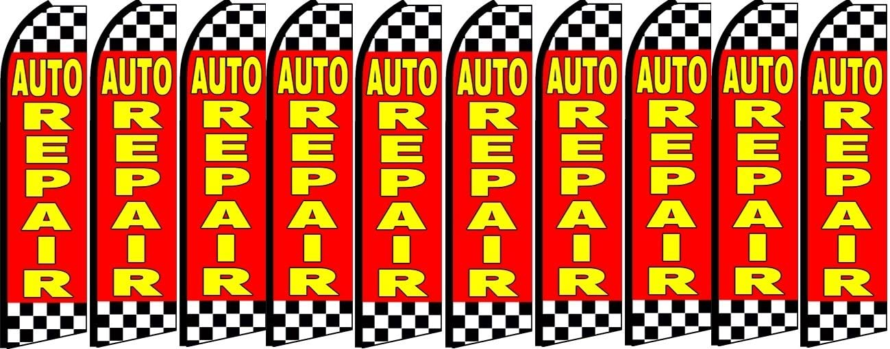 Pack of 10 Hardware not Included auto Repair King Swooper Feather Flag Sign