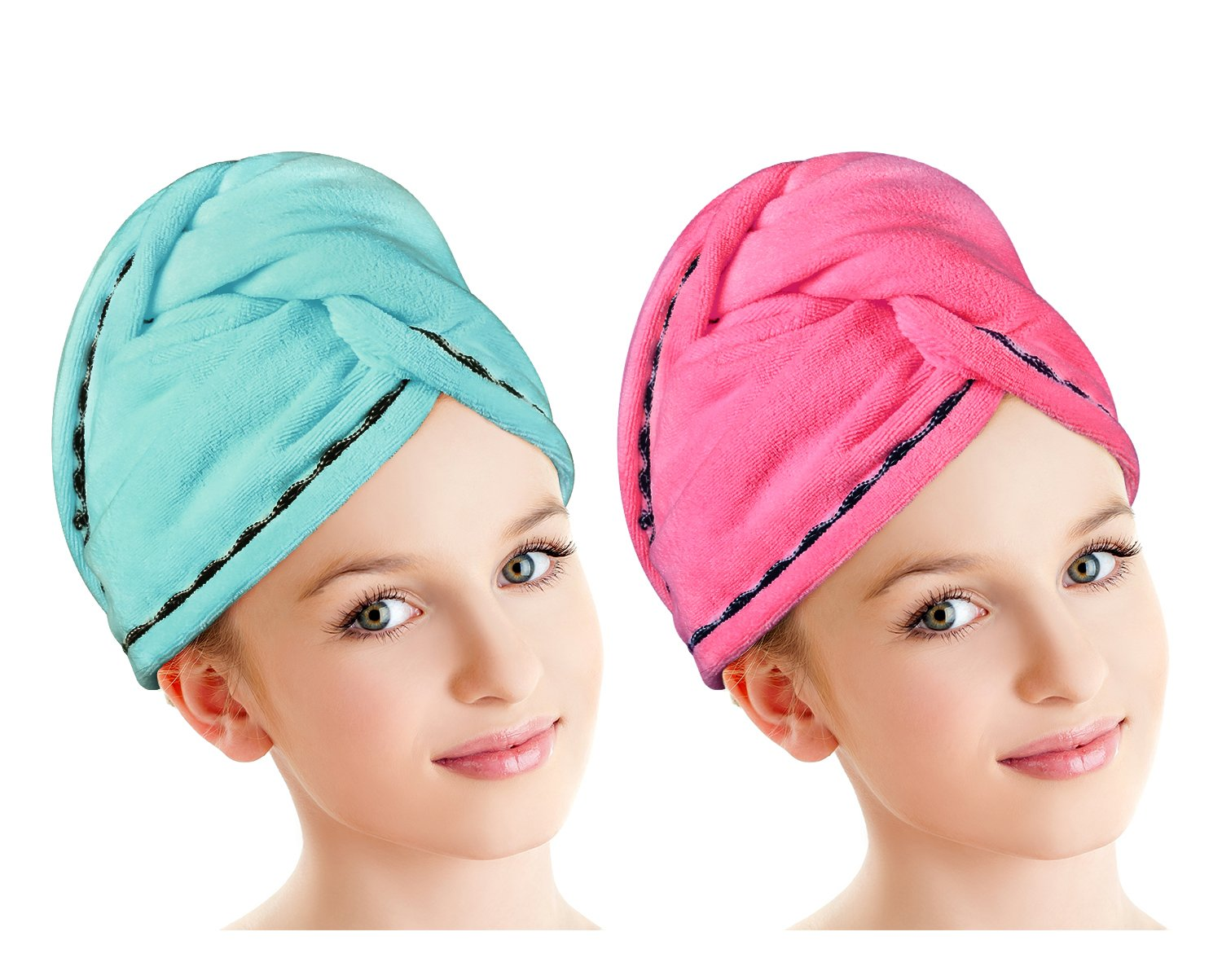 Luxspire 2 Pack Microfiber Hair Drying Towels, Fast Drying Hair Cap, Long Hair Wrap Turban, Bath Shower Head Towel with Buttons, Super Water-absorbent, Blue & Rose Red
